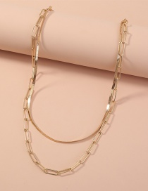 Fashion Gold Color Snake Bone Chain Alloy Hollow Multilayer Necklace