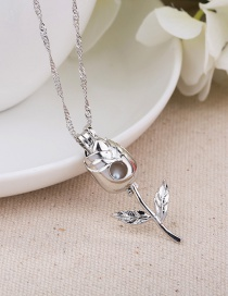 Fashion Silver Color Natural Freshwater Pearl Rose Flower Pendant Necklace