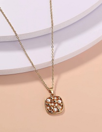 Fashion Gold Color Square Pearl Hollow Pineapple Single Layer Necklace