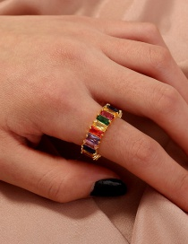 Fashion Color Mixing Diamond Contrast Round Alloy Ring