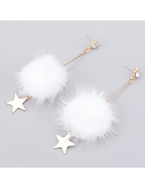 Fashion White Alloy Diamond Acrylic Hair Ball Star Earrings