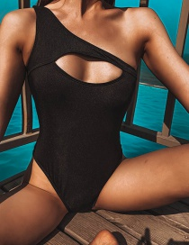 Fashion Black One-shoulder Solid Color Hollow One-piece Swimsuit