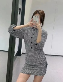Fashion Houndstooth Houndstooth Pleated Lapel Dress