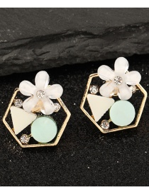 Fashion White Flower Micro-inlaid Zircon Geometric Resin Earrings