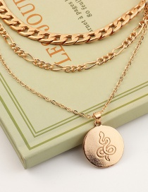 Fashion Golden Geometric Metal Chain Disc Serpentine Multilayer Necklace