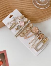 Fashion Pink Card Set Pearl And Diamond Resin Alloy Geometric Hairpin Set