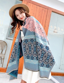 Fashion Xiangyun Pink Green Imitated Cashmere Geometric Jacquard Thickened Warm Shawl Double-sided Scarf