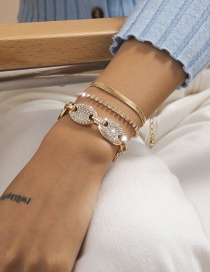 Fashion Gold Color Alloy Diamond Claw Chain Geometric Multi-layer Bracelet