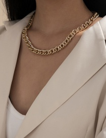 Fashion Gold Color Aluminum Single Layer Double Woven Chain Necklace