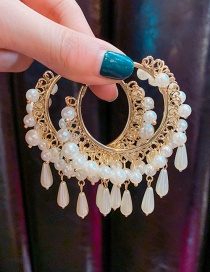 Fashion Pearl Earrings Pearl Geometric Circle Alloy Earrings