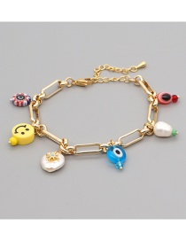 Fashion Gold Color Smiley Stainless Steel Glass Eye Beads Freshwater Pearl Bracelet