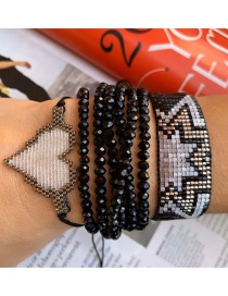 Fashion Suit Black Rice Beads Woven Handmade Beaded Love Bracelet