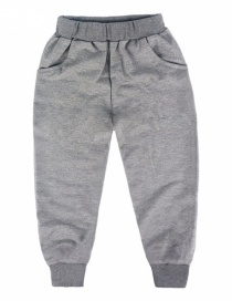 Fashion Gray Childrens Pants With Elastic Waistband