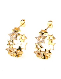 Fashion Golden C-shaped Diamond-encrusted Hollow Five-pointed Star Earrings