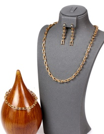 Fashion Suit U-shaped Chain Smooth Thick Chain Copper Plating Necklace Bracelet Earrings