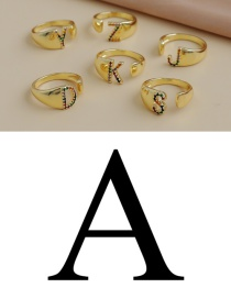 Fashion A 26 Letters Open Ring With Copper Inlaid Zircon