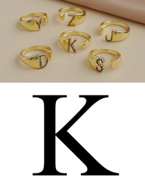 Fashion K 26 Letters Open Ring With Copper Inlaid Zircon