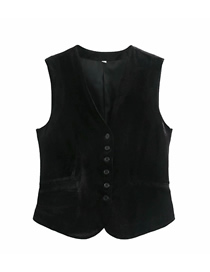 Fashion Black Velvet Single-breasted Slim-fit Vest Top