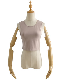 Fashion Beige Small Neckline Slim Cropped Tank Top