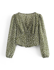 Fashion Green Irregular Polka Dot Print V-neck Waist Long Sleeve Shirt