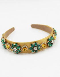 Fashion Yellow Broad-brimmed Headband With Diamonds And Geometric Gems