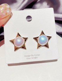 Fashion Golden Pearl Five-pointed Star Alloy Earrings