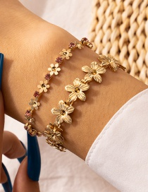 Fashion Golden Alloy Multilayer Bracelet With Diamonds And Flowers