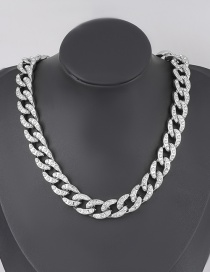 Fashion Silver Geometric Ccb Diamond Thick Acrylic Chain Necklace
