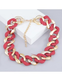Fashion Red Thick Chain Ccb Resin Necklace
