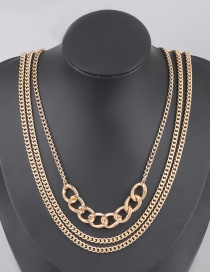 Fashion Golden Alloy Thick Chain Stitching Multilayer Necklace