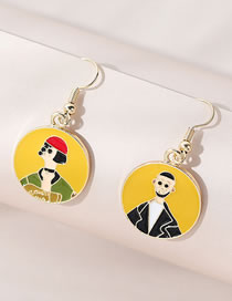 Fashion Yellow Painted Oil Asymmetric Love Round Earrings