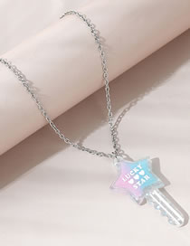 Fashion White Star Key Letter Resin Alloy Necklace