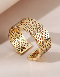 Fashion Gold Color Leaf Hollow Wide Open Ring