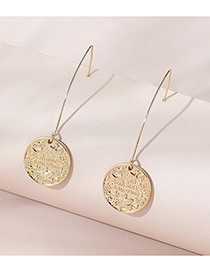 Fashion Golden Color Round Embossed Alloy Earrings