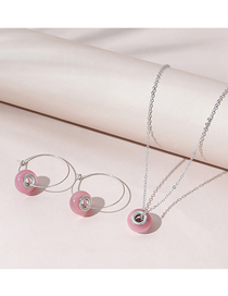 Fashion Pink Opal Round Alloy Earrings Necklace Set