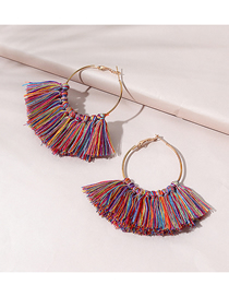 Fashion Color Mixing Tassel Round Alloy Earrings