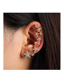 Fashion Gold Color Gypsophila Studded Alloy Unilateral Earrings