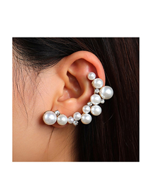 Fashion Gold Color Pearl And Diamond Geometric Alloy Unilateral Earrings