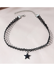 Fashion Black Oil Drop Five-pointed Star Alloy Geometric Necklace