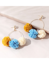 Fashion Hairball Mesh Wool Ball Hit Color Round Earrings