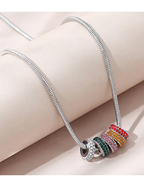 Fashion Color Mixing Diamond Beaded Round Contrast Necklace