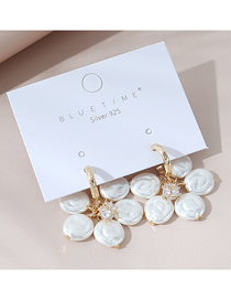 Fashion White Real Gold Plated Pearl And Diamond Flower Earrings