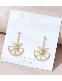 Fashion Golden Real Gold Plated Diamond Earrings