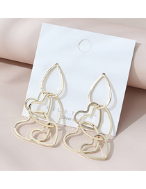 Fashion Golden Real Gold-plated Love Drop-shaped Hollow Earrings