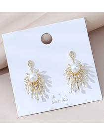 Fashion Golden Real Gold Plated Pearl And Diamond Firework Earrings