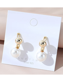 Fashion White Real Gold Plated Pearl Round Earrings