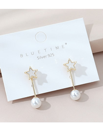 Fashion White Real Gold Plated Pearl Pentagram Earrings