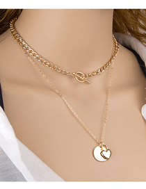 Fashion Golden Love Lock Ot Buckle Thin Chain Double Necklace