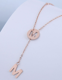 Fashion Rose Gold Letter Yuan Hollow Pendant Titanium Steel Necklace