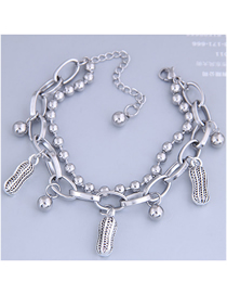 Fashion Silver Peanut Double Bracelet With Stainless Steel Beads